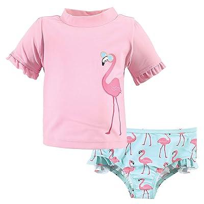 Hudson Baby Hudson Baby Unisex Baby Swim Rashguard Set, Flamingo, 2 Toddler