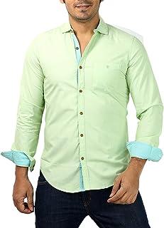 Rapphael Men's Casual Full Sleeve Cotton Plain Shirt(Green)