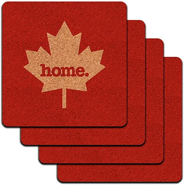 Canada Maple Leaf Home Country Low Profile Cork Coaster Set Solid Red