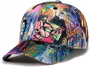 Quanhaigou Printed Baseball Cap,Graffiti Unisex Snapback Flat Bill Hip Hop Hats