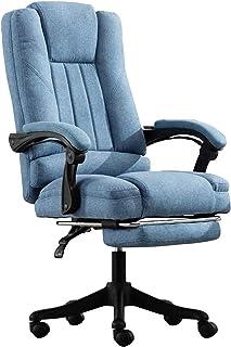 ZHENG Silla Escritorio Silla Gaming Las sillas ergonómicas Silla giratoria reclinable y reposapiés Lino de la Tela de Nylon pies Azules