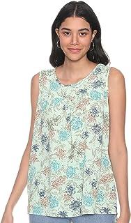 Andiamo Fashion Floral Pattern Sleeveless Round Neck Blouse for Women XL