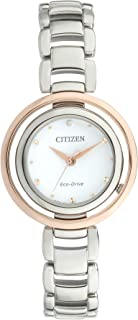 CITIZEN Womens Solar Powered Watch, Analog Display and Solid Stainless Steel Strap - EM0668-83A