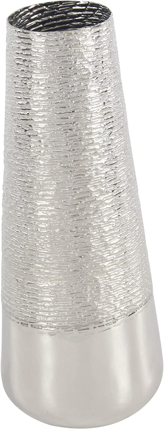 Deco 79 Glam Metal Cylindrical Floor Vase, 9  W x 22  H, Silver