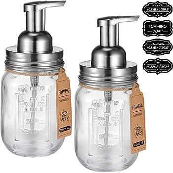 Mason Jar Foaming Soap Dispenser -Rustproof Stainless Steel Lid/BPA Free Foam Pump-Waterproof Chalkboard Labels-Farmhouse Decor Bathroom Accessories,Refillable &Eco Friendly -Brushed Nickel (2 Pack)