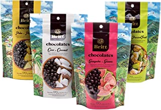 Cafe Britt Chocolates Dark Chocolate-covered Tropical Fruit(4 Pack)(Guava, Coconut, Passion Fruit, Pineapple) (6 oz) Gourm...