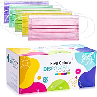 Face Masks, 3 Layer Disposable Face Masks with Nose Clip and Ear Loops Multicolored 50 Masks (5 Color)
