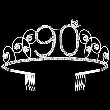 BABEYOND Crystal Birthday Tiara Crown Princess Birthday Crown Hair Accessories Happy 90th Birthday Crown Tiara for Women (90 Birth)