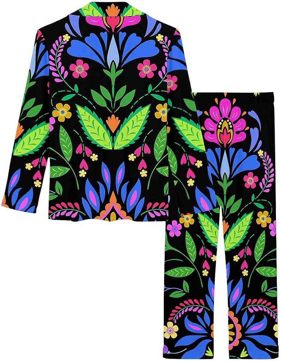 InterestPrint Notch Collar Loungewear Sleepwear Soft Nightwear for Women Folk Pattern with Polish
