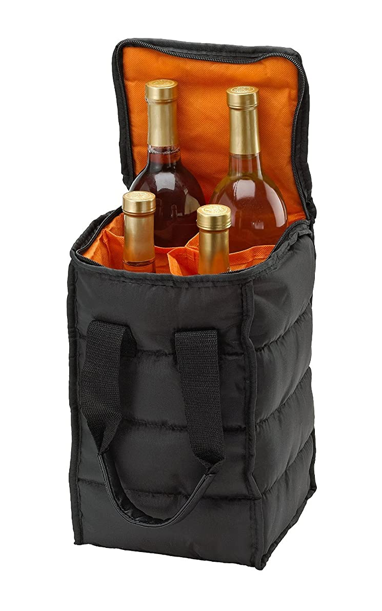Wine Carrier Tote Bag - 4 Bottle Pockets - Attractive wine bag with thick external padding, zipper and easy to carry handles. The wine tote bag is perfect for travel, picnics or a day at the beach.