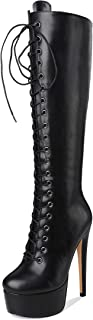 Women's Sexy Platform Front Lace-Up High Heel Stiletto Stretch Over The Knee High Boot