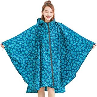 CCJW Raincoat Women's Waterproof Jacket Raincoat Hooded Poncho Suit Motorcycle Raincoat Set Protective Equipment Work Outdoor Activities (Color : Blue, Size : XXL)