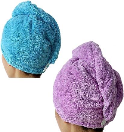 Bath beige, Dark Purple, Light Pink, Light Blue Nice 4pcs Microfiber Hair Drying Towels Fast Drying Hair Cap Long Hair Wrap Hair Towel Bath & Shower