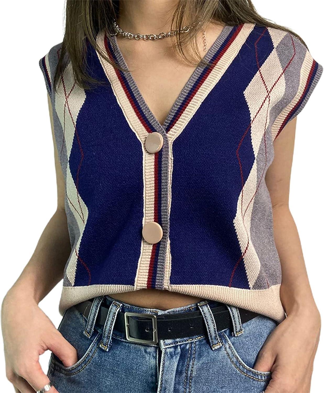 Women/Girl 's Check Knit Sweater Cardigans Knitwear Y2K Long Sleeve Vintage Cropped Top 90s Cute Streetwear