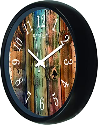 Random (RC-6502) 12 Inch Round Shaped Wall Clock with Glass (Silent Movement, Black Frame)