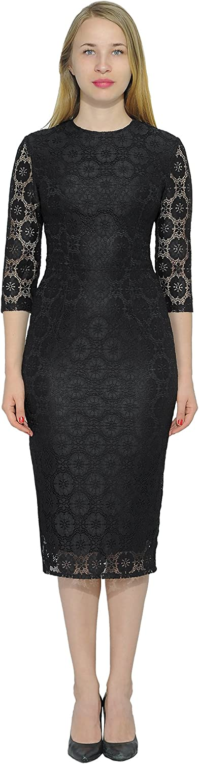 Marycrafts Women's Cocktail Party Long Sleeve Floral Lace Midi Dress