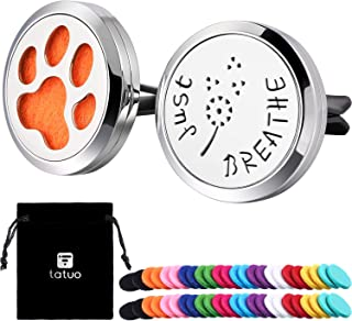 Tatuo 2 Pieces 316L Stainless Steel Car Aromatherapy Essential Oil Diffuser Air Freshener Vent Clip Locket with 48 Pieces Replacement Felt Pad (Dandelion, Paw Print-Silvery)