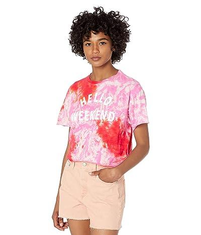 The Original Retro Brand Hello Weekend Tie-Dye Raw Edge Slightly Crop Tee