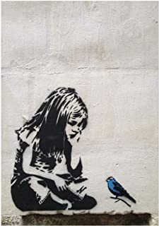 HONGC Banksy Graffiti Street Art Toile Art Print Girl with Blue Bird Nordic Posters and Prints Wall Art Pictures Home Deco...