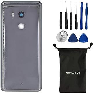 جراب بطارية sunways (مادة زجاجية) مع عدسة زجاجية خلفية بديلة لهاتف HTC U11+ (أسود)