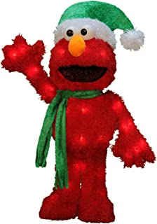 ProductWorks 18-Inch 3D Pre-Lit Sesame Street Waving Elmo Christmas Yard Decoration, 35 Lights
