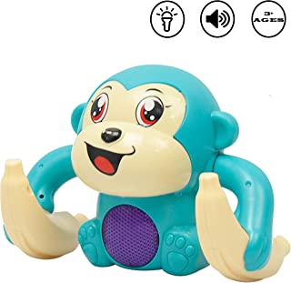 WISHKEY 360 Degree Rotation Dancing and Tumbling Monkey with Banana ,Light and Sound Toy for Kids