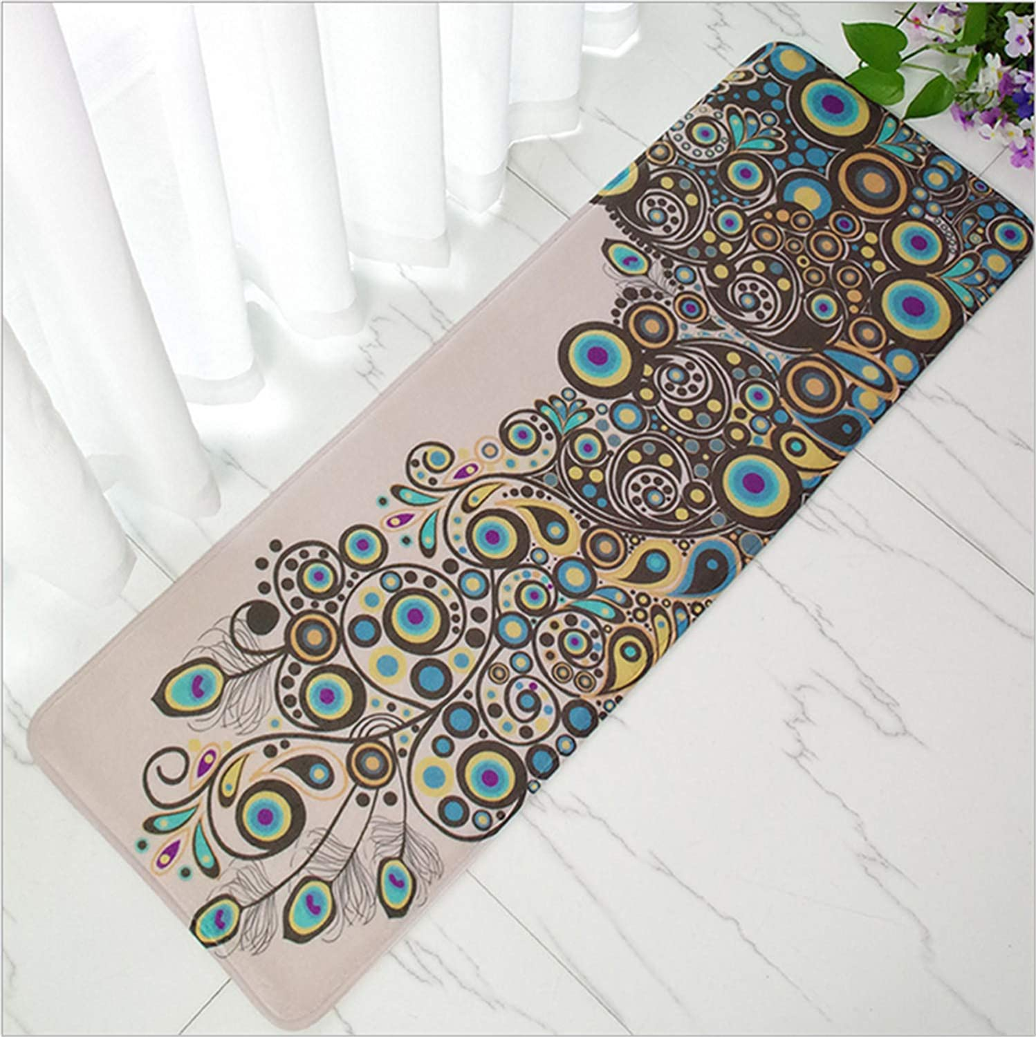 New Long Strip Flannel Carpet Bedside Sofa Coffee Table Mat Kitchen Oil Skid Waterproof Safety 40  120cm