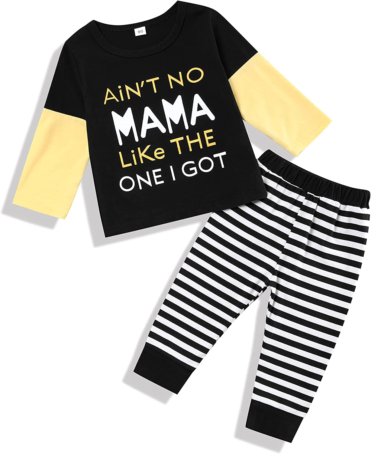 Gavol Toddler Baby Boy Clothes Ain'T NO MAMA LIKE THE ONE I GOT Letter Print Top and Camouflage Pants 2Pcs Outfits Set