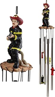 Ebros Gift Black Gear Outfit Fireman in Line of Duty with Fire Hose Attached to Hydrant Resonant Relaxing Wind Chime Patio Garden Accent of Fire Fighters Hydrants 911 Emergency Civil Service