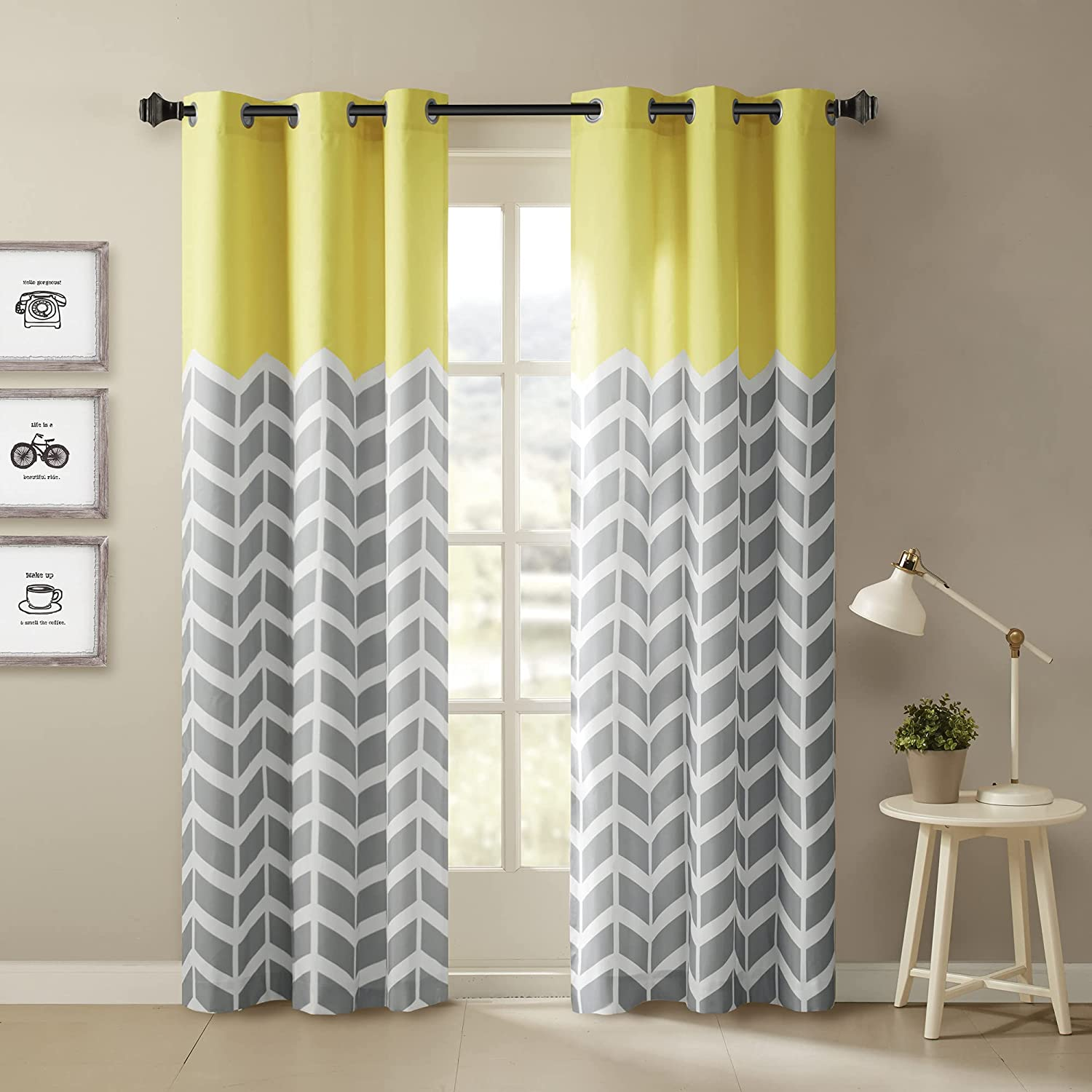 Intelligent Design Yellow in Grey Chevron Printed Curtains for Living Room  or Bedroom, Modern Contemporary Grommet Room Darkening Curtains, 20x20, ...