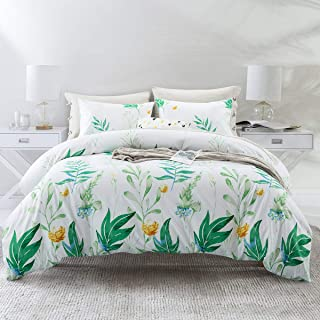 ARTALL 3 Pcs Soft Printing Duvet Cover Set Comforter Quilt Cover Bedding Set, Green Plant Pattern, White, Full/Queen(90