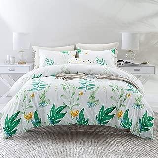 ARTALL 3 Pcs Soft Printing Duvet Cover Set Comforter Quilt Cover Bedding Set, Green Plant Pattern, White, Full/Queen(90