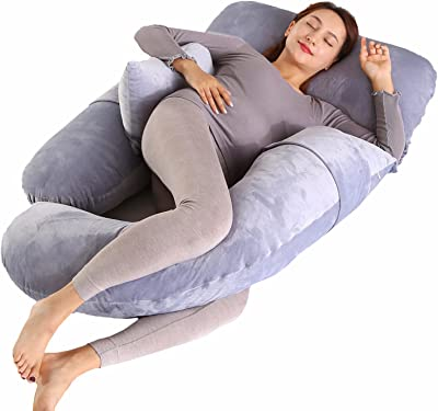 Pregnancy Pillow U-Shaped Pillow Full Body Pillow for Maternity Support Sleeping Pillow with Velour Cover (Grey)