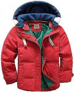 D.IIZOO 子ども ダウンジャケット ダウンコート 中綿コート キッズ 防寒 フード付き アウター 男の子 冬 ボーイズ (レッド, 120cm)