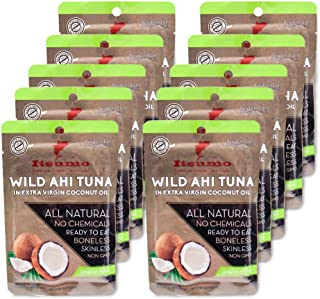 Premium Tuna Keto Snacks - No Carbs Wild Ahi Tuna in Coconut Oil (Pack of 10) Japanese Grade Yellowfin by Itsumo