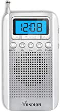 Digital AM FM Portable Pocket Radio with Alarm Clock- Best Reception and Longest Lasting. AM FM Compact Radio Player Operated by 2 AAA Battery, Stereo Headphone Socket (Silver), by Vondior