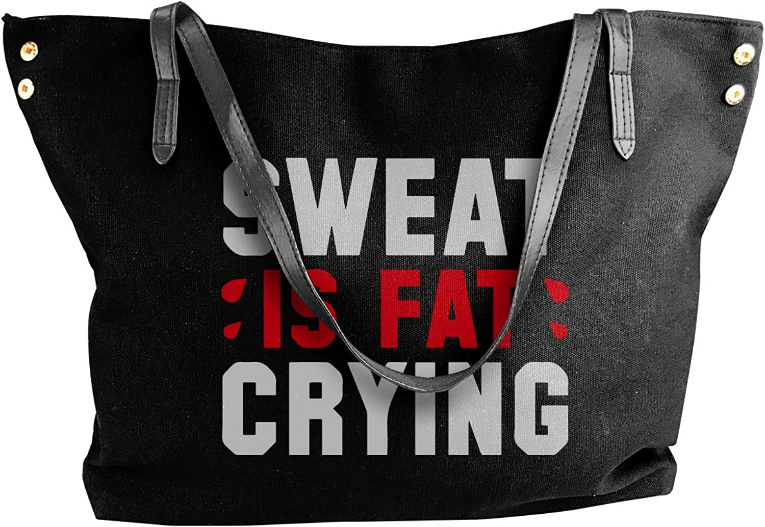 Sweat Is Fat Crying Women'S Casual Canvas Shoulder Bag For School Shoulder Tote