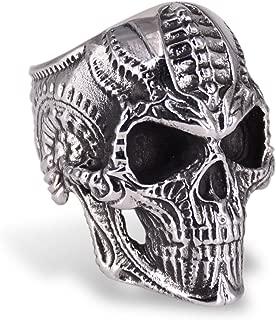 Stainless Steel Skull Rings for Men Women, Titanium Skull Biker Ring with 5 Designs- Biomechan, Skull King, Gas mask, Goat Head, Steam Punk Style, Size 8-15