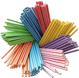 Terra Products 200 Pack Biodegradable Paper 8 Colors Rainbow Chevron for Juices, Shakes, Smoothies, Party Supplies Decorations Drinking Straws