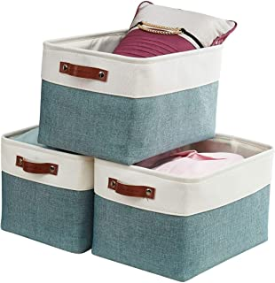 DECOMOMO Foldable Storage Bin [3-Pack] Collapsible Sturdy Cationic Fabric Storage Basket Cube W/Handles for Organizing She...