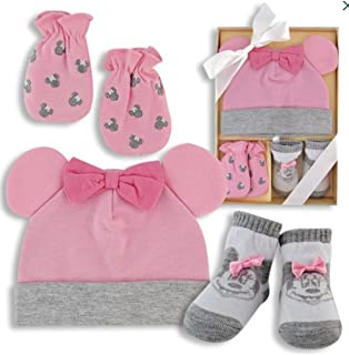 Minnie Mouse Baby Gift Box - Hat, Scratch Mittens, Socks - Gift Boxed Disney Baby Gift