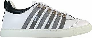 DSQUARED2 Scarpe Uomo Lace-up Low Top Sneaker 251 SNM0147 M1912 Bianco e Grigio in Pelle