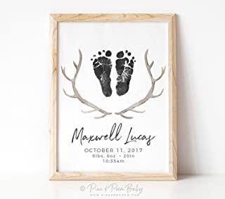 Arvier Woodland Nursery Decor Antler Art Tribal Rustic Boho Birth Announcement Print Personalized with Your Baby Footprints in ANG Framed Wall Art