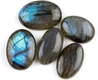 Jaguar Gems 5pcs 80+ cts Natural Labradorite Stone, Blue Flash Crystals, Jewelry Making Crystals, Labradorite Supply, Natural Cabochon, Loose Gemstone, Chakra Healing Crystals, Aura Stone