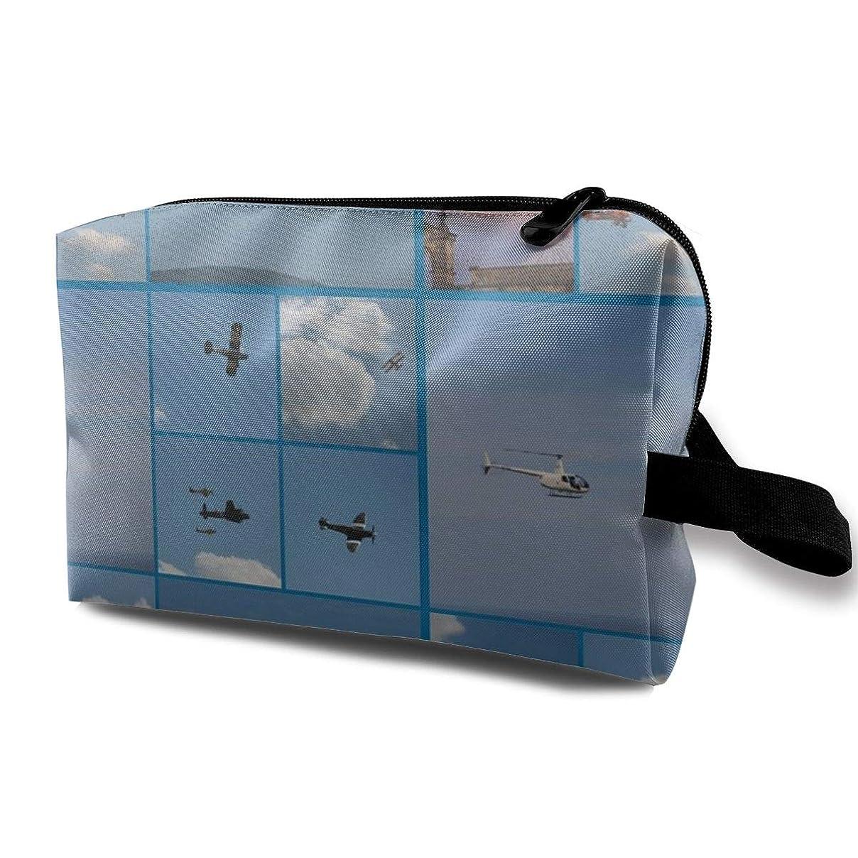 みがきます印象派ひねり化粧ポーチ コンパクトサイズ,Blue Background_3809の平面、オックスフォードの布の多彩な袋の小型旅行