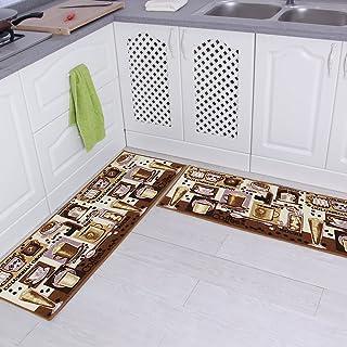 "Carvapet 2 Piece Non-Slip Kitchen Mat Rubber Backing Doormat Runner Rug Set, Coffee Design (Brown 15""x47"")"