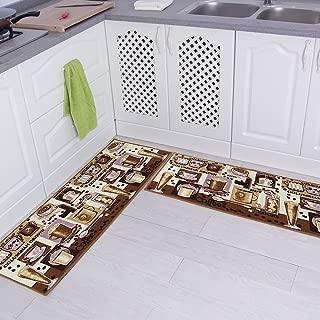 Carvapet 2 Piece Non-Slip Kitchen Mat Rubber Backing Doormat Runner Rug Set, Coffee Design (Brown 15
