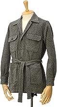 [ORIAN【オリアン】]ベルテッドサファリシャツジャケット LARMY L006 80 ウール ヘリンボーン グレー