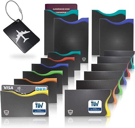 Amazy RFID & NFC Schutzh�llen (16 St�ck) inkl. Kofferanh�nger � T�V-gepr�ft � 100% Schutz vor Identit�ts- und Datendiebstahl � Extra-robuste H�llen f�r Kreditkarten, EC-Karten, Ausweise und Reisepass