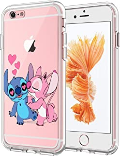 DISNEY COLLECTION Cute Clear Stitch and Angel Phone Case Compatible with iPhone 6 Plus iPhone 6S Plus Bumper Flexible Shockproof Protective Cover